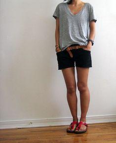 j. crew t-shirt, theyksens' theory shorts, dries van noten belt, birkenstock sandals