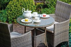 Why not treat yourself to a tea party in your garden and breathe in all that fresh air. Garden Furniture, Outdoor Furniture Sets, Outdoor Decor, Enjoy The Sunshine, Bistro Set, Tea Party, Breathe, Table, Fresh