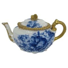 Check out this item at One Kings Lane! Antique Flow Gilded Blue Teapot