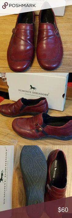 Remote Dorndorf Ladies pandora slip on red leather Remonte Dorndorf Shoes Mules & Clogs