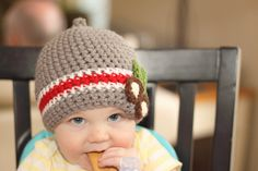 Buckeye Ohio State Nub Tip Beanie  (Crocheted to Order in sizes NEWBORN- TODDLER). $23.00, via Etsy.
