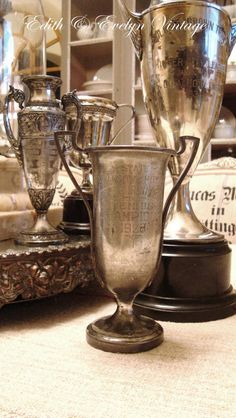 Vintage Tennis Trophy Cup Silverplate 1928 by edithandevelyn on Etsy