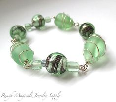Mint Green Beads Lampwork Wire Wrapped Sea Glass by RoughMagicals