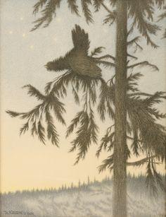 Theodor Kittelsen, Troldfugl, lithograph, 1895/1904, H: 57,5 x B: 46,5 cm, Stiftelsen Kulturkvartalet