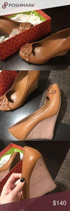NWB Tory Burch tan wedges sz 9 Never worn Tory Burch wedges, purchased for $250. Excellent condition-see 3rd photo for only flaw. Price negotiable!! Tory Burch Shoes Wedges