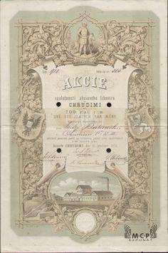 Muzeum cennych papiru A0908 Akciový lihovar v Chrudimi / Aktien-Spiritusfabrik in Chrudimi  1871 Stocks And Bonds, Vintage Lettering, Certificate, Accounting, Vintage World Maps, Money, Paper, Drawings, Prague