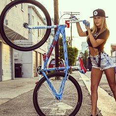 We have the very last supply of the SE x Santa Cruz Big Ripper bikes. If you wanted one, it's not too late! And yes, it comes with a limited edition Santa Cruz skate deck! Bmx Bicycle, Bicycle Girl, Bmx Bikes, Bmx Cruiser, Bmx Girl, Bmx Street, Bike Logo, Female Cyclist, Bmx Racing