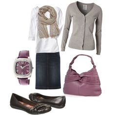 A fashion look from December 2012 featuring v neck knit top, boatneck tee and knee length denim pencil skirt. Browse and shop related looks.