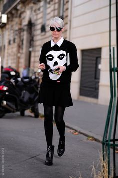 If you're Kate Lanphear and you're going to wear a dress... #streetstyle #skulls