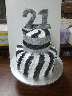 21st birthday. chocolate 21 covered in bling. feminine ruffles