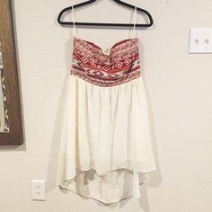 High Low Red Strapless Aztec Dress Worn 2-3 times, mini Dresses Strapless