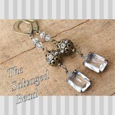 Vintage Faceted Rhinestone Baguette Glass Earrings