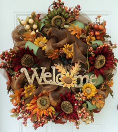 Welcome Sunflowers Fall Thanksgiving Wreath Crafts - 2014 Thanksgiving Home… Wreaths And Garlands, Deco Mesh Wreaths, Holiday Wreaths, Autumn Wreaths, Wreath Crafts, Diy Wreath, Burlap Wreath, Wreath Ideas, Thanksgiving Wreaths