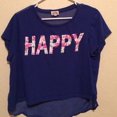 """""""Happy"""" short sleeve tee Blue, pink, and white shirt sleeve tee, See through in the back, Shorter in the front and longer in the back. Love rocks Tops Tees - Short Sleeve"""