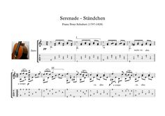 "Serenade Classical guitar solo sheet music  Schwanengesang (""Swan song""), is the title of a collection of songs written by Franz Schubert at the end of his life and published posthumously. Ständchen ""Serenade"" is the most popular and famous. Here is a version for classical guitar solo, with tablature and downloadable mp3 for audio help, with fingering suggestions."