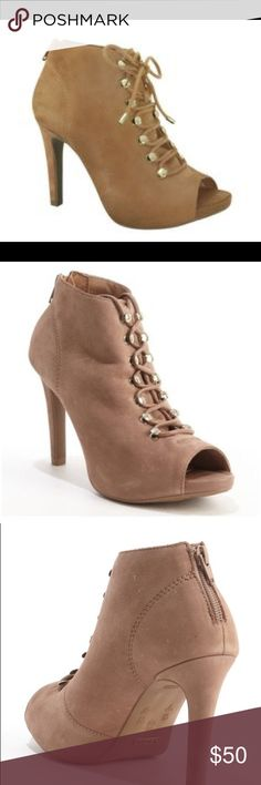 Taupe Suede Lace Up Open Toe Ankle Booties SOFIA Z Taupe Suede Lace Up 'gisi' Open Toe Ankle Booties $39.97 Retail: $349.00 DESCRIPTION Sofia Z is known for creating chic, ultra feminine styles sure to bring out your inner fashion goddess. * Sofia Z * Soft Suede Upper * Rounded Open Toe * Lace Up Vamp * Leather Lined With Supreme Comfort Engineering * Rubber Sole * 4'' Stiletto Heel * All Measurements Are Approximate * Brazil * Suede * Style # 335912702 Shoes Ankle Boots & Booties