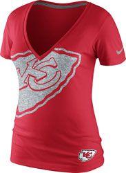 Kansas City Chiefs Women's Red Nike Tri Reverse Logo Tri-Blend T-Shirt