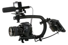 This configuration uses the additional weight of the monitor to help displace the weight of the camera. By setting up the Scorpion in this fashion you can use easily make camera moves that look like they where shot on a Professional Camera Stabilizer or Jib Arm. In this setup we have combined the Accessory Shoe and Wing, then mounted a LED Light and a Shotgun Microphone. To Complete the Flyer Setup you will need (1) additional Accessory Shoe and a monitor mounted in the rear.