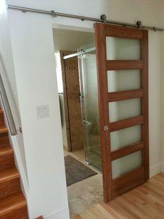 I want this door as a front door. Not as a slider. Bathroom Doors, Small Bathroom, Door Design, House Design, Modernisme, Closet Doors, Windows And Doors, Sliding Doors, Home Organization