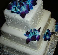 Square Wedding Cake, Swirly Piping, Blue Purple Flowers