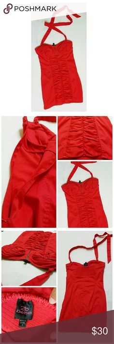 "2be bebe Red Dress Worn a couple of times; in good condition; there's a li'l bit of stain on the strap as shown in pic #4; no rips; there's a zipper on the side and on the front Length: 24"" Bust: 30 Waistline: 28 bebe Dresses"