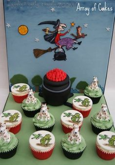 Room on the Broom Cupcakes - Bronze at Cake International 2013 Cake by Arrayofcakes