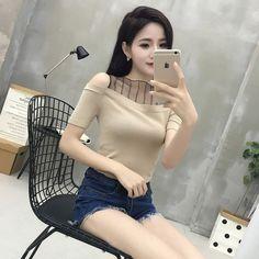 Women Fashion Slim Knitting Off-shoulder Short Sleeve Patchwork Mesh T shirts Tops Girls Knitted Slash Neck Tees FL693