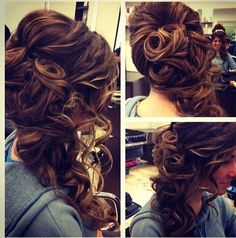Prom hairstyle. Curled to the side and hump !