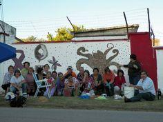 Dia de NO a la violencia de genero ...mosaico en muro del estadio olimpicos de florida