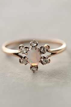 Opal and Diamond Ring. Pretty & dainty