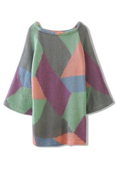 Geometric Color Block Knitted Sweater Top
