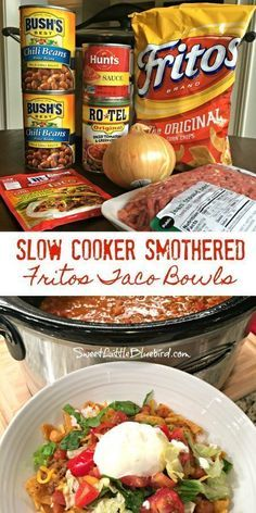 cooking recipes Today's slow cooker recipe is sure to have family and friends cheering - Slow Cooker Smothered Fritos Taco Bowls, a crowd pleasing meal! Slow Cooker Smothered Fritos Taco Bowls AKA, Fristos Pie - Just Crock Pot Recipes, Crockpot Dishes, Crock Pot Cooking, Easy Crockpot Recipes, Healthy Recipes, Easy Crockpot Chili, Easy Chili Recipe, Crockpot Chicken Tacos, Potluck Meals
