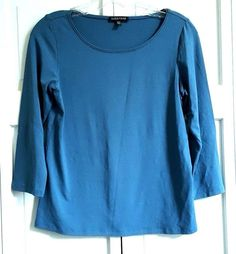 EILEEN FISHER Knit Top XS 3/4 Sleeve Rayon Lycra Jade Shirt Tee Scoop Neck #EileenFisher #KnitTop
