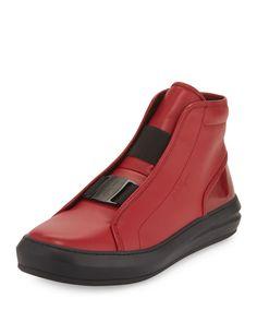 2f7e04a5cf0 Salvatore Ferragamo Gang Buckle-Front Leather High-Top Sneaker