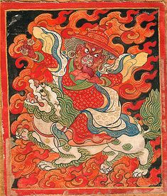 ANTIQUE THANGKA. This small, vibrant icon painting on cloth Probably was created for a temple setting and later preserved within a family shrine. The fierce-looking, three-eyed figure on the lion's back wields a bronze thunderbolt used in Buddhist rituals to protect the faithful from evil and bad karma.