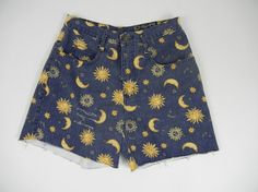 Vintage Sun and Moon Shorts 90s Goth by littleraisinvintage