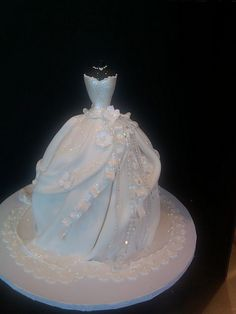 Wedding gown cake.... I want this to be a side cake along with the tux cake. #notmaincake!