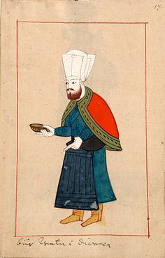 """""""Carries water in the Diwan""""    """"Bär watn i divanen"""".  The 'Rålamb Costume Book' is a small volume containing 121 miniatures in Indian ink with gouache and some gilding, displaying Turkish officials, occupations and folk types. They were acquired in Constantinople in 1657-58 by Claes Rålamb who led a Swedish embassy to the Sublime Porte, and arrived in the Swedish Royal Library / Manuscript Department in 1886."""