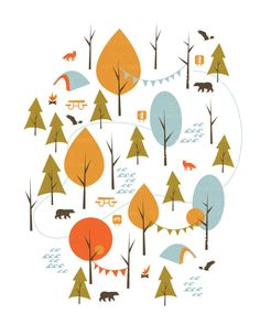 8x10 art print NATIONAL PARKS, Forest, Camping, Tents, Outdoors, Cottage, Cabin, Wall Decor, Home Decor, Modern, Nursery by papercanoedesign on Etsy https://www.etsy.com/listing/255533811/8x10-art-print-national-parks-forest