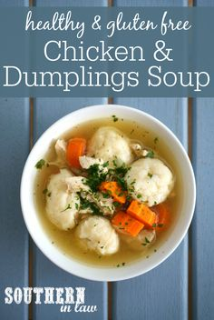 This Healthy Homemade Chicken and Dumplings Soup is delicious and SO much easier to make then you would expect It is also gluten free, low fat, high protein, clean eating friendly, egg free, nut free and has vegetarian options. Sit down to a steaming bowl of soup in 30 minutes or less.