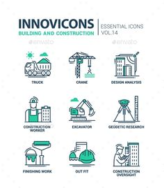 Buy Building and Construction Line Design Icons by BoykoPictures on GraphicRiver. Building and construction – modern vector oil industry flat design icons and pictograms. Flat Design Icons, Icon Design, Web Design, Logo Design, Graphic Design, Civil Engineering Logo, Business Icon, Business Company, Business Cards
