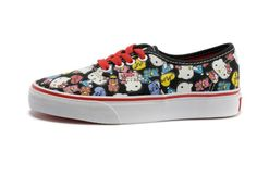 Vans Shoes Black/True White Authentic Hello Kitty Womens Canvas Sneakers