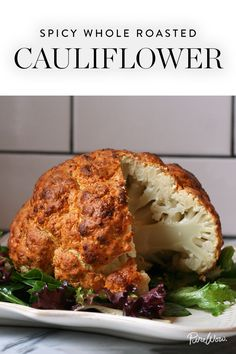 Spicy Whole Roasted Cauliflower. Get the recipe via @PureWow