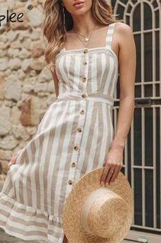 Khaki Striped Women Dress Buttons Linen Summer Beach Sundress Backless Bow Midi Dress Vestidos Size S Color stripe Elegant Dresses, Casual Dresses, Summer Dresses, Teal Dresses, Ladies Dresses, Vestidos Retro, Midi Sundress, Vestido Casual, Striped Midi Dress
