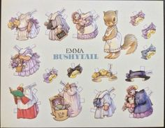 6-Large-Paper-Doll-Postcards-of-the-Bushytail-Family-Artist-Kathy-Lawrence-1992