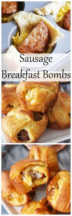 Sausage, Egg, and Cheese Breakfast Bombs. These are made in a muffin tin and so easy kids can even help out! They feature /jvillesausage/ breakfast sausage patties. (Baking Eggs In Muffin Tin) Sausage Breakfast, Breakfast Dishes, Breakfast For Kids, Best Breakfast, Breakfast Recipes, Breakfast Ideas, Savory Breakfast, Breakfast Muffins, Recipes With Breakfast Sausage Links