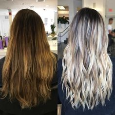 From boring to bombshell slays this color correction with the help of ・・・ Before & After . Color: Bond Builder: After Care: No Yellow Shampoo Ash Blonde Hair Balayage, Blonde Hair Looks, Brown Blonde Hair, Blonde Highlights, Bayalage, Haircuts For Long Hair, Hairstyles Haircuts, No Yellow Shampoo, Dyed Hair