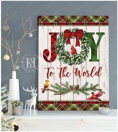 Christmas Wall Art Canvas Christmas Wall Art Canvas, Canvas Wall Art, Canvas Prints, Joy To The World, Canvas Material, Beautiful Christmas, Christmas Wreaths, Holiday Decor, Pattern