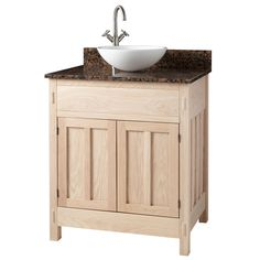Made in Kentucky from American hardwood, this vanity cabinet is awaiting you to give it that finishing touch. The Unfinished Mission Hardwood Vanity will be a stand out piece in your bathroom or powder room. Created for use with a vessel sink (not inc Vessel Sink Vanity, Bathroom Sink Vanity, Vanity Cabinet, Bath Vanities, Unfinished Bathroom Vanities, Unfinished Cabinets, Semi Recessed Sink, Modern Powder Rooms, Porcelain Sink