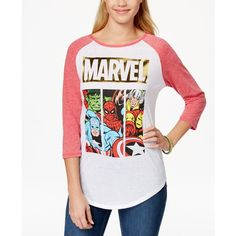 Freeze 24-7 Juniors' Marvel Graphic Baseball T-Shirt (2.900 HUF) ❤ liked on Polyvore featuring tops, t-shirts, graphic design t shirts, baseball style tees, baseball tshirt, baseball graphic t shirts and graphic tees
